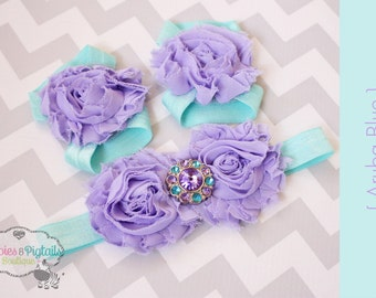 Barefoot sandals or headband { Aruba Blue } aqua, lavender baby shoes, summer sandals, newborn, baby girl baby shower gift, photography prop