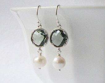 LAST ONE Grey Crystal Pearl Silver Drop Earrings