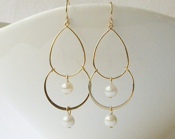 Pearl and Gold Chandelier Earrings, Bridesmaid Jewelry Gift