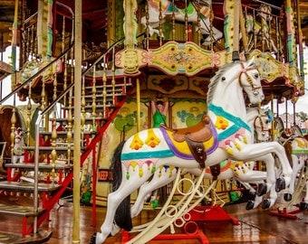 Carnival Horses Carousel Ride Fine Art Print- Carnival Art, County Fair, Nursery Decor, Home Decor, Children, Baby, Kids