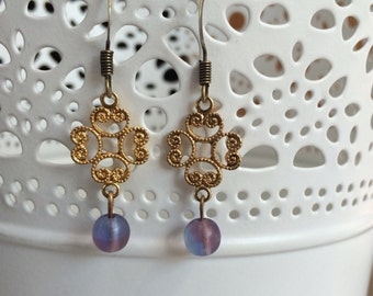 Romantic Gold Filigree Earrings with Iridescent Purple Beads