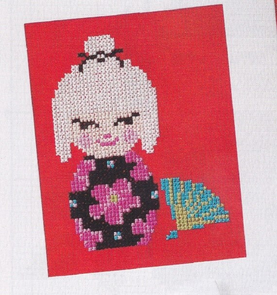 Cross stitch card kokeshi cuties greeting cards