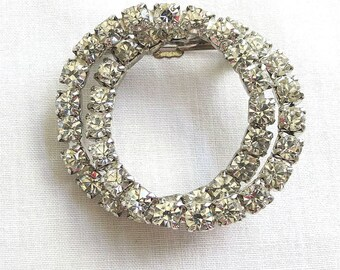 Vintage Double Circle Clear Rhinestones Wreath Brooch or Pin