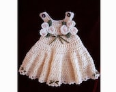 CROCHET PATTERN, Baby Dress - Girls Dress - newborn to age 12 - number 539, cream jumper - girl's dress