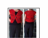 Crochet Shrug Vest PATTERN - Red Shrug, num. 717- Adult small to Plus size,  women's clothing and accessories, vest sweater