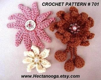 MULTI-PETAL Crochet Flower with dangles; Crochet PATTERN, fashion brooch or hat accessory, craft supplies, pdf Instant digital download #701