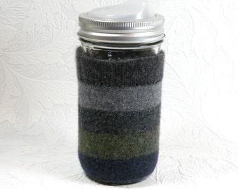 Jar Cozy - 3/4 or 1/2 pint size - stripes - dark