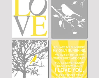 Set of Four 8x10 Nursery Art Prints - Love, Bird in a Tree Branch, You Are My Sunshine - CHOOSE YOUR COLORS  - Shown in Lemon Yellow, Gray