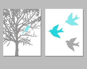 Birds and Trees - Set of Two 8x10 Prints - Perfect for Bathroom, Nursery, Kitchen, Bedroom - CHOOSE YOUR COLORS - Shown in Gray and Aqua