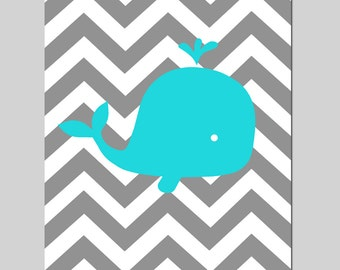 Chevron Whale - Nautical Nursery Art - Beach Theme - 11x14 Print - CHOOSE YOUR COLORS