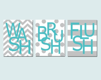 Kids Bathroom Wall Art Print Set - Set of Three 8x10 Prints - Wash, Brush, Soak, Splish, Splash, Flush, Scrub, Floss - CHOOSE YOUR COLORS