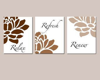 Floral Bathroom Art - Relax, Refresh, Renew - Flowers - Petals - Bathtub - Spa - Set of Three 8x10 Prints - CHOOSE YOUR COLORS