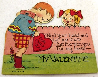Vintage Moveable Valentines Day card with plaid shorts - moveable R