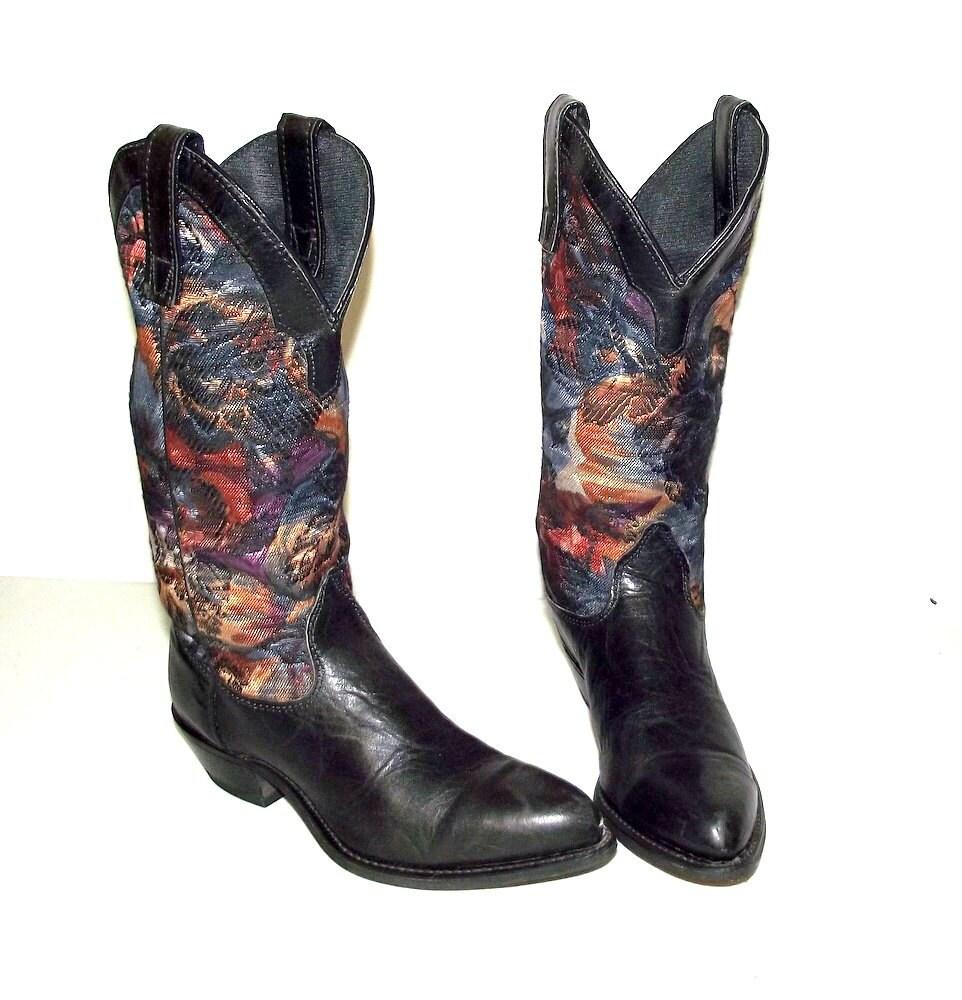 blue tapestry western fashion boots capezio brand