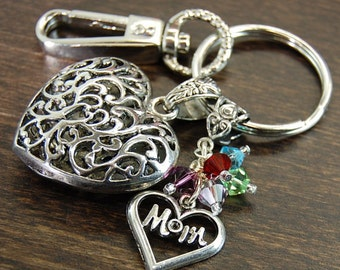 Mom, You Are Always In Our Hearts - SMALL FILIGREE HEART - Custom Made Birthstone Keychain