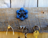Upcycled Found Object Key Rack on reclaimed wood with vintage hardware