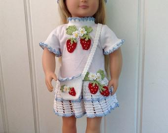 "18"" Doll Strawberry T-Shirt Dress, Hat & Purse Set Crochet Pattern PDF"