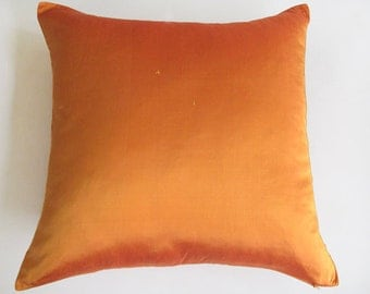 STOCK CLEARANCE 40% OFF- golden orange silk pillow cover tangerine 18 inch