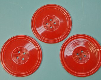 Lot of 3 large vintage 1940s unused round art deco clear red early plastic button for your sewing prodjects