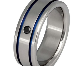 Titanium Black Diamond Wedding Band - Thin Blue Line Ring - bd10