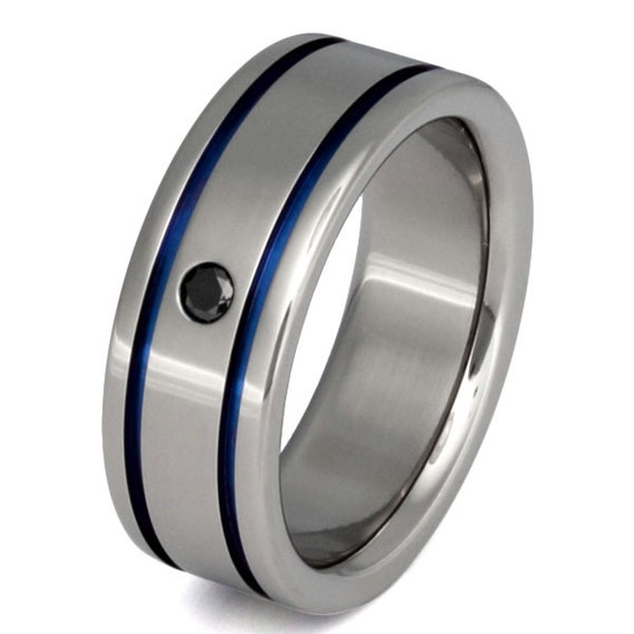 Titanium Black Diamond Wedding Band Thin Blue Line Ring