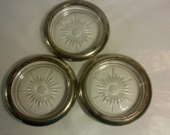 FREE SHIPPING vintage silverplate glass  Italy coasters ashtrays (Vault 19)