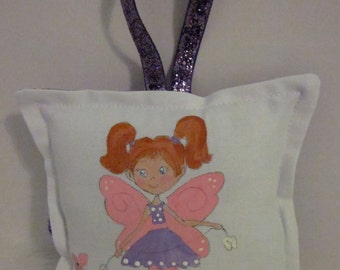 Tooth Fairy Pillow - Girl Fairy with red hair  - Hand Painted -  Name Personalized FREE