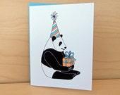 Panda Bear with Present - Birthday Card