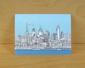 Philadelphia Skyline Thank You - Set of 10 cards - recycled cardstock