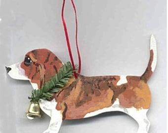 Hand-Painted BASSET HOUND Brown Wood Christmas Ornament...Artist Original, Christmas Tree Ornament Decoration