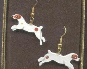 Markdown Sale...Wooden JACK RUSSELL TERRIER Running Hand-painted Dog Earrings....Choose Brown or Tri-color