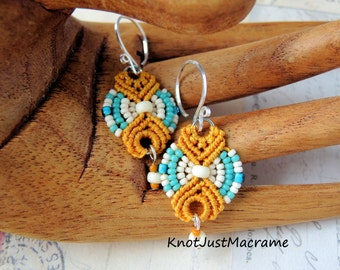 Teal and Mustard Beaded Macrame Earrings MicroMacrame