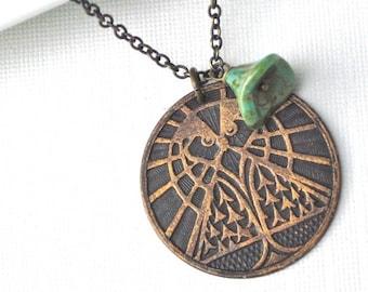 Owl Necklace - Medallion, Pendant, Brass