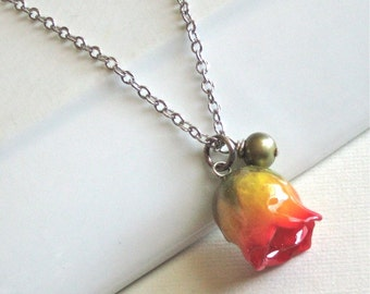 Real Rosebud Necklace - Yellow and Red, Real Flower Jewelry, Nature Jewelry, Yellow Rose Bud, Sterling Silver, Botanical Jewelry