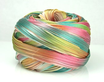 1/2 yd Shibori Ribbon Hand Dyed Silk Ribbon Ecru Borealis Shibori Girl
