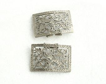 Pewter Shoe Clips Openwork Vintage Rectangle Metal Shoe Embellishments