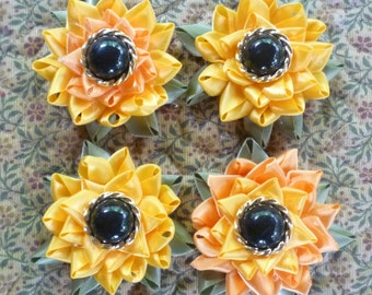 Set of 4 Ribbon Sunflower Refrigerator Magnets