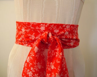 Obi Wrap Belt Red and White Floral Print Cotton Fabric