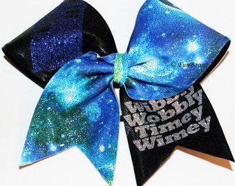 Dr. Who Wibbly Wobbly Timey Wimey Tardis Cheer Bow by Funbows !