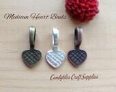 25pc...Medium Vintage Style Heart Bails...Choose your Color...Glass Tiles, pendant bails...