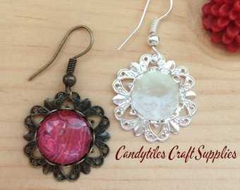50pk...Vintage Flower Earring Trays...Comes with Glass Inserts..12mm...Bezel Settings. Mix and Match.. Pendant Trays