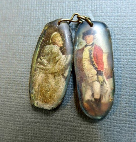 The Courtship. Resin charm asymmetrical earring pair.