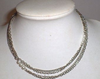 Vintage Long Necklace - Chain and Pearly Beads - Double Strand Chain Necklace - Silver Toned Necklace - Extra Long Necklace