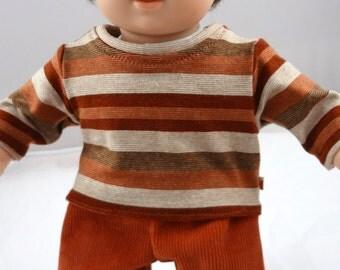 "Boy doll shirt and pants set, 15"" Waldorf doll, 18"" American Girl doll, Bitty Twin Bitty Baby, cord pants clothing knit tshirt rust stripe"