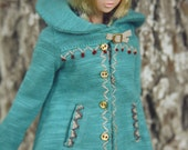 jiajiadoll- light blue hand embroider coat jacket fits momoko or blythe Misaki Unoa light