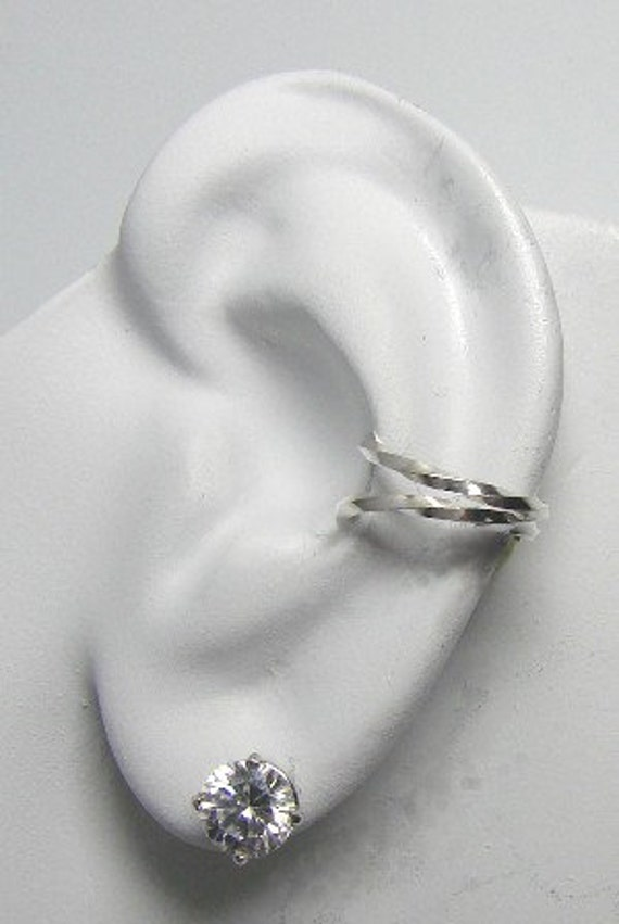 Ear Cuff Sterling Silver EarBand NON-pierced Cartilage Earcuff, No piercing Fake Earring, Pierceless,Faux piercing Double Twist Wire EDWSS