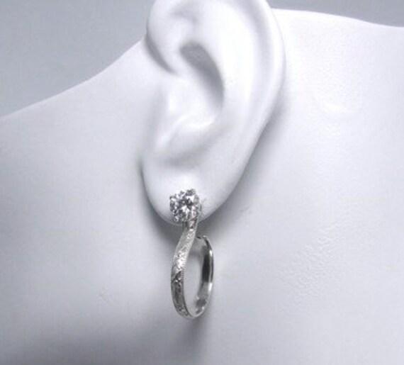 Earring Jackets Sterling Silver Art Deco Hoop Dangle JH118SS