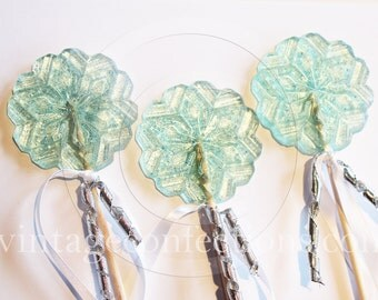 3 piece FROZEN  snowflake wand Lollipops by Vintage Confections