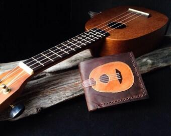 Hand Stitch Men Wallet Vintage Ukulele Colored Wood