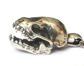 Bat Skull Necklace Silver Bat Skull Pendant Necklace Fruit Bat Skull Necklace 085